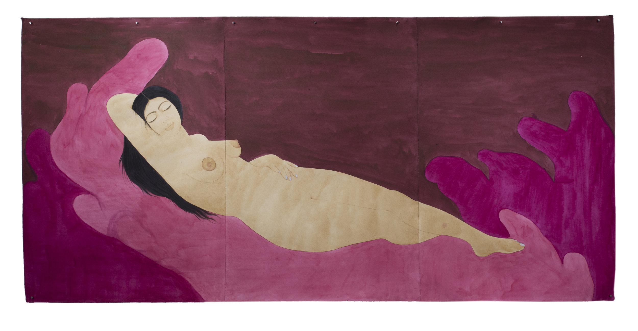 Self Portrait as Sleeping Venus (after Giorgione)  tea, watercolor, ink and poster paint on Twinrocker, 48 x 99 inches  2017