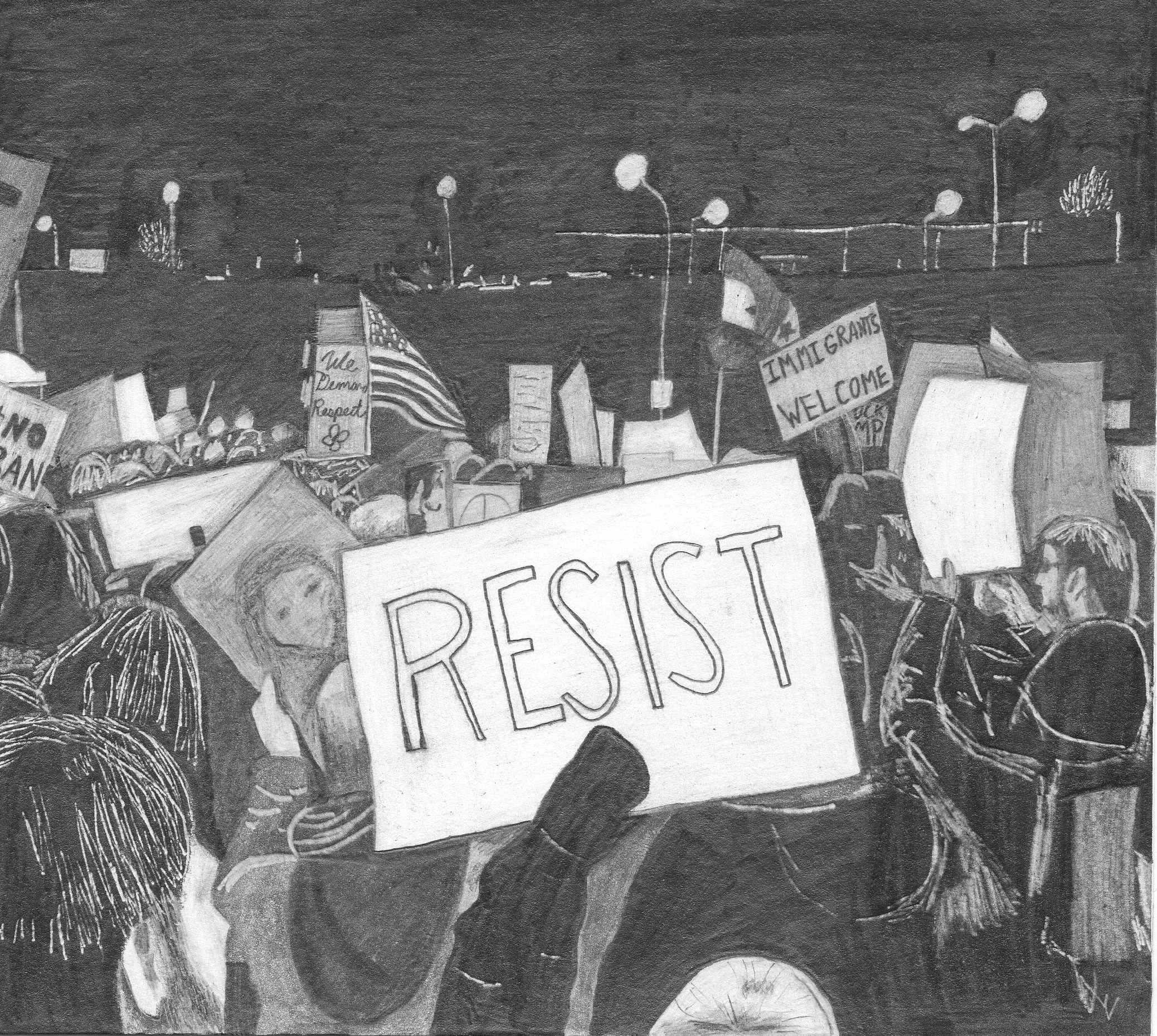 RESIST Pencil on paper 6 x 7 inches 2017