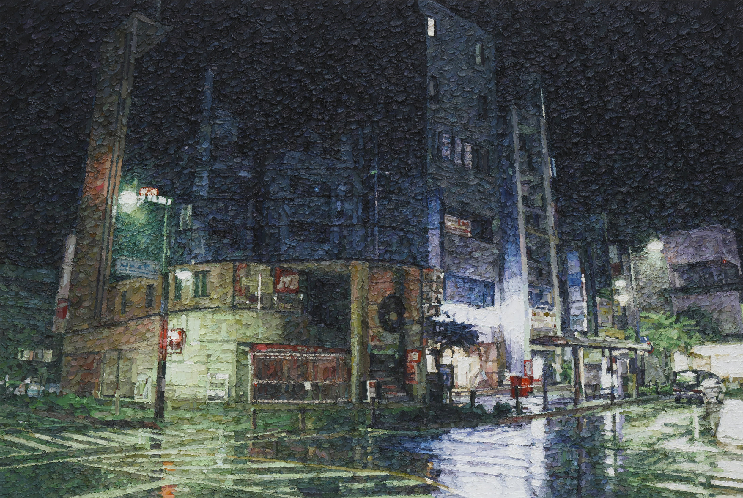 Night rain oil on canvas 130.3 x 194 cm 2014 photo by Keizo Kioku