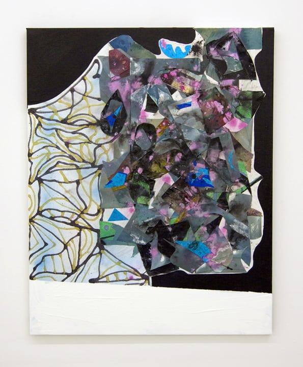 Broken Eyes Acrylic, Mylar, silk on canvas 30 x 24 inches 2015