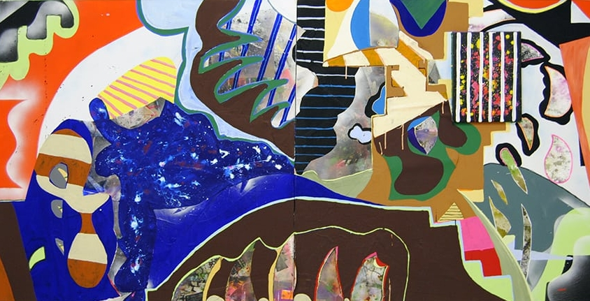 Up Against Nature Flashe, acrylic, enamel, ink, silk, Mylar, paper on canvas 48 x 96 inches 2016