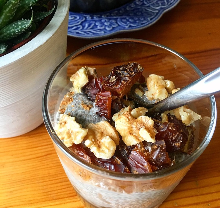Finished product! Chia pudding w/ dates and walnuts