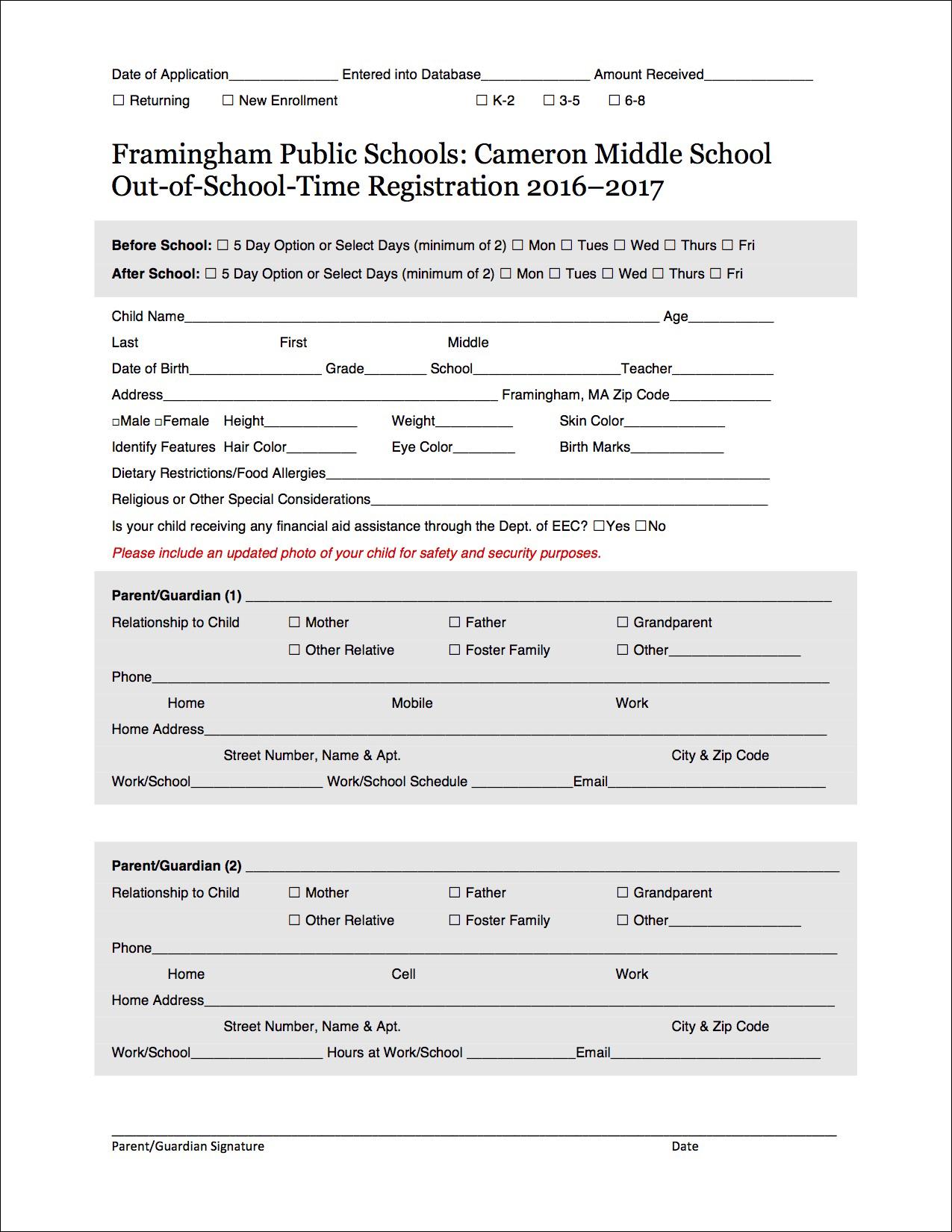Registration Form – After