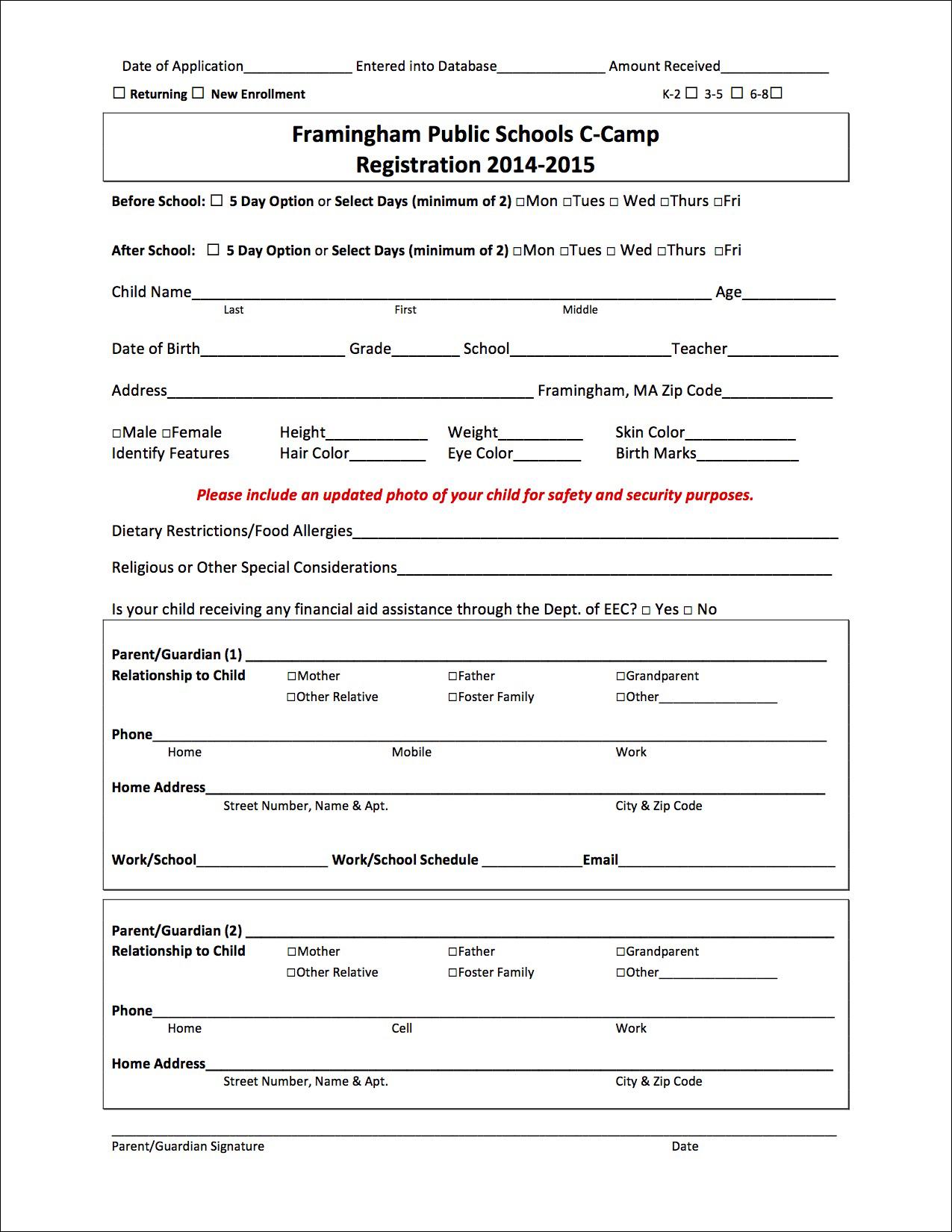 Registration Form –Before