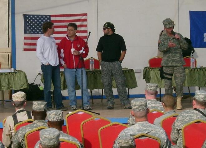 Al Franken enjoying his coffee, telling jokes to the troops of 2/502 in Baghdad
