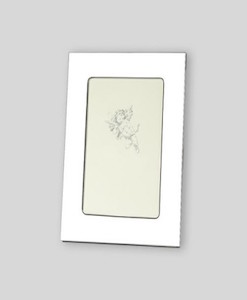 """4×6 Nickel Plate Frame   High quality nickel plated photo frame. Plain design has a large border for engraving. Nickelplate stays shiny and doesn't tarnish. Overall size is 5½"""" x 7½"""". Price of $29.00 does not include engraving."""