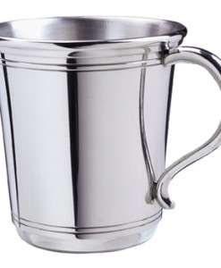 """Pewter Baby Cup   American-made Pewter baby cup.Pewter does not tarnish so this baby cup won't require polishing and will stay shiny forever.Our best-selling pewter cup, this design is gender-neutral, making it an ideal keepsake for either a girl or a boy.  Comes in a nice gift box and measures 2 5/8″ x 2 ¾"""" diameter. Price of $59.00 does not include engraving.Recommended engraving is a 3-letter monogram or name along with a date."""