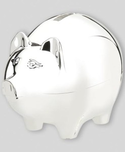 Classic Nickelplate Piggy Bank (Large)   How can you go wrong with a piggy bank? Nickelplated for a non-tarnish – but still shiny – finish, and 4″ x 5″long, this is the large sized (and most popular) version of the classic pig bank. Appropriate for all ages of kids, this one will hold lots of coins.  Price of $31.00 does not include engraving.  Recommended engraving location is on the body with the pig's snout facing to the left. Popular engraved message is child's first name on the top line and date on the bottom line.