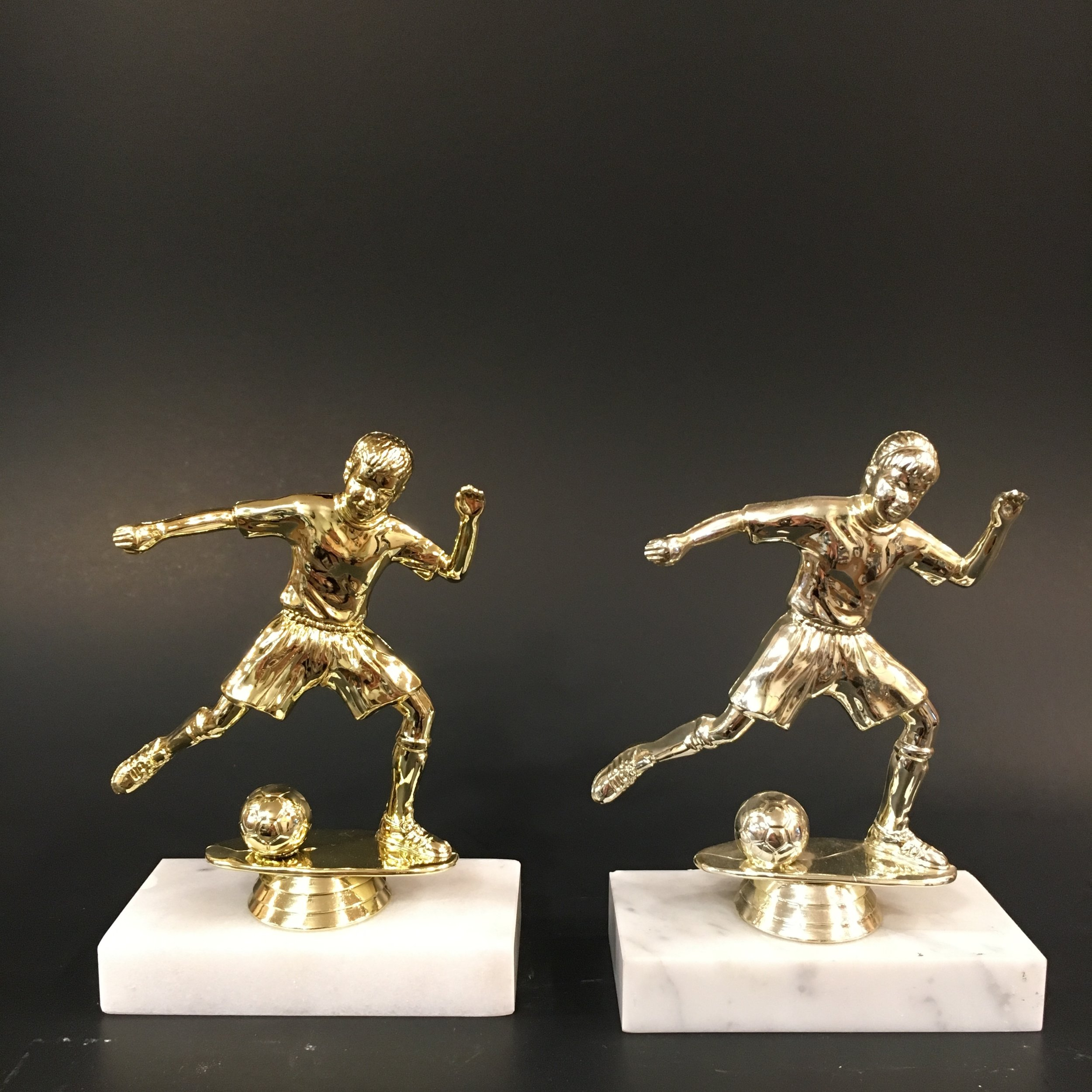 """6"""" Male and Female Kid Soccer on Marble Base"""