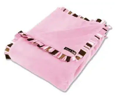 Maya Ruffle Trimmed Receiving Blanket (#755)   Keep your little one warm and secure with this Maya Ruffle Trimmed Receiving Blanket by Trend Lab. Soft pink velour is surrounded by a cotton twill ruffle that features a stripe print in bubblegum pink, chocolate brown, caramel and white. Measures 30 in x 40 in. Price of $32.95 does not include embroidery.