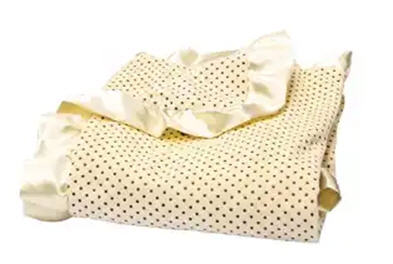 Banana Cream Mini Dot Ruffled Trimmed Receiving Blanket (#831)   The Delightful Dot Velour and Satin Baby Blanket is a must-have for cuddling your little bundle of joy! Soft taupe mini-dots adorn the fluffy banana cream velour, complementing the matching 2 inch satin ruffled trim. This blanket is the perfect nursery accessory and the finest, most snuggly baby shower gift! Bundle your precious little peanut in huggable softness.  Measures 30 in x 40 in.Price of $32.95 does not include embroidery.