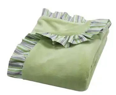 Lauren Ruffle Trimmed Receiving Blanket (#215)   Good choice for those who don't yet know the gender of a baby is this Lauren Ruffle Trimmed Receiving Blanket. Soft green velour is surrounded by a charming cotton ruffle trim that features a variegated stripe print in celery green, shades of opal gray and white. Measures 30 in x 40 in. Price of $32.95 does not include embroidery.