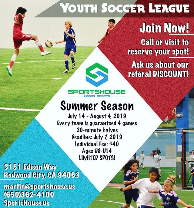 Youth Soccer League is a tarting in just a week on July 14!! Call or visit us at SportsHouse to reserve your spot! We are looking forward to starting the 2019 Summer Season!