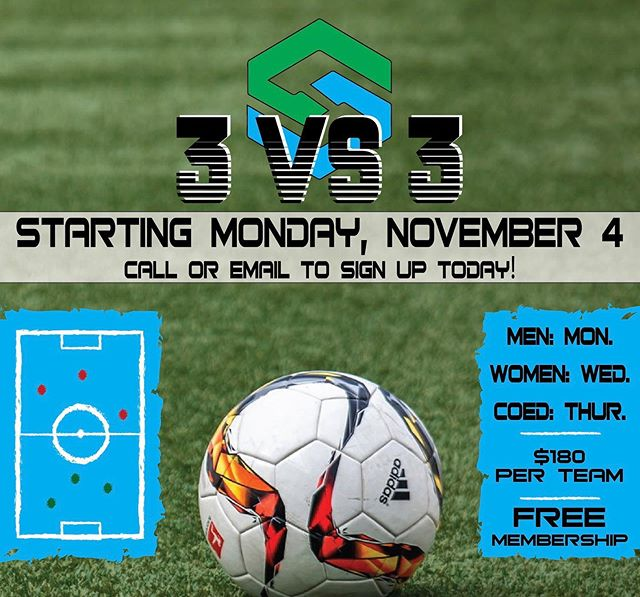 Sign up for the New 3 vs 3 League starting November 4th!!