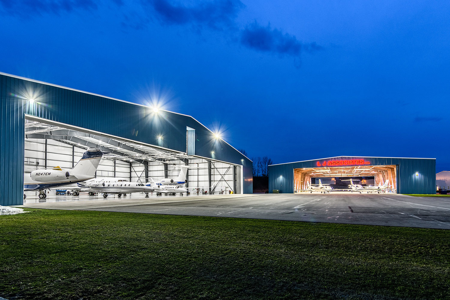 Six hangars and 120,000+ square feet of hangar storage space available.