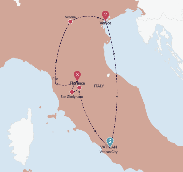 Map of the trip: two nights in Rome with a partial day in Vatican City on our way to Florence, three nights in Florence with visits to the Chianti Region for wine tasting and exploring in San Gimignamo, stops in Pisa and Verona on the way to Venice where we stayed for two nights.