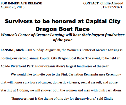 Capital City Dragon Boat Press Release