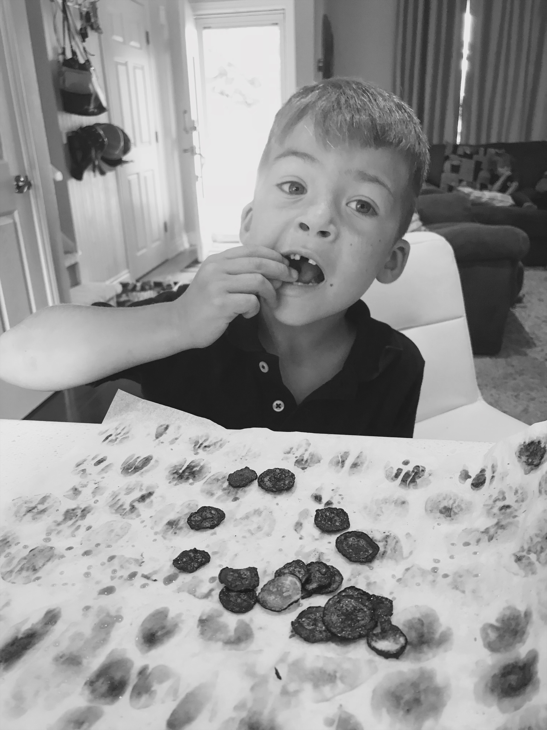 Totally overcooked these, but Fletcher still ate them.  He likes the taste of burnt food, just like his mom.