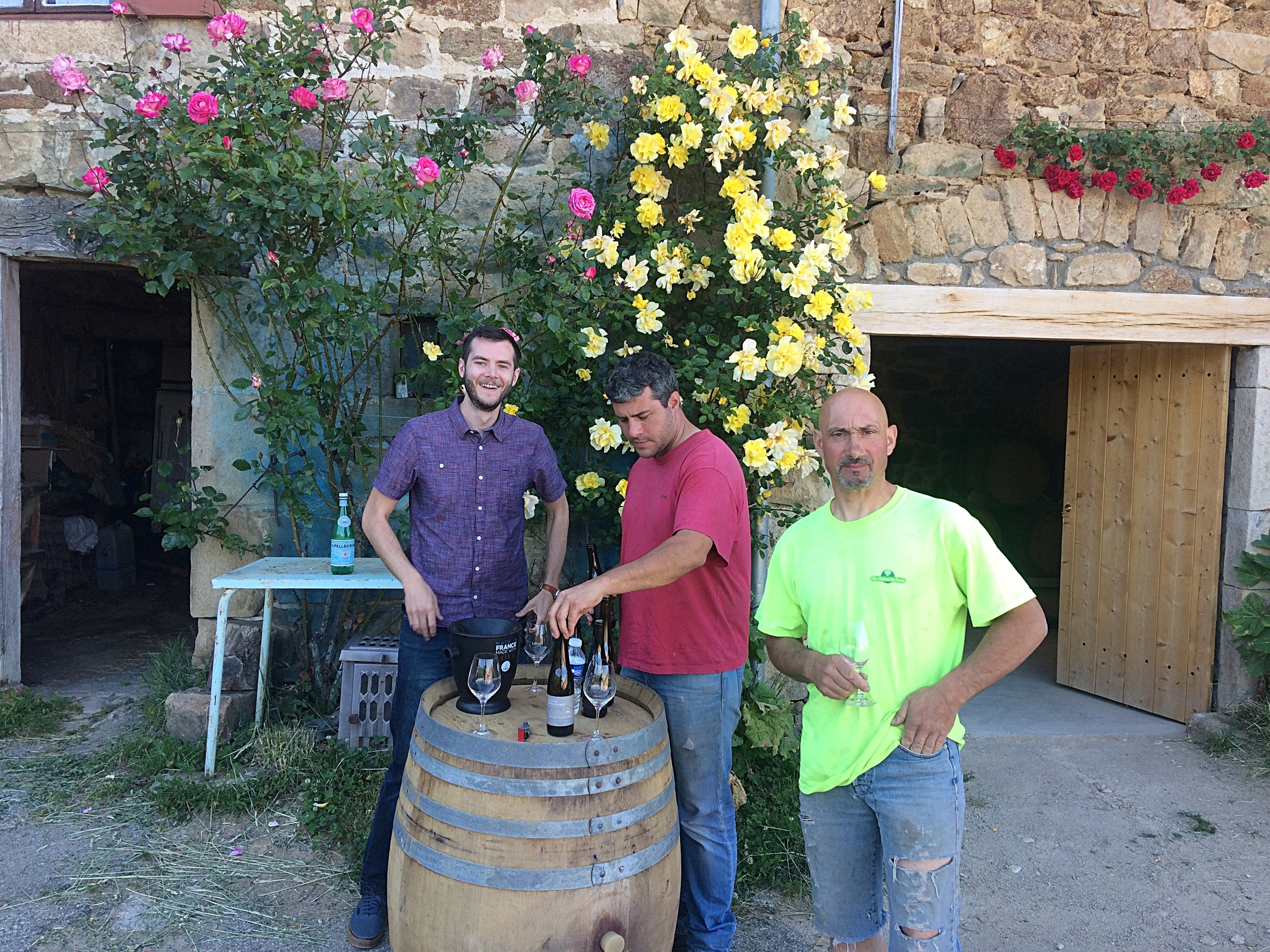 Me (left), Yann the vigneron (center) and Richard , Yann's father in law and business partner (right)