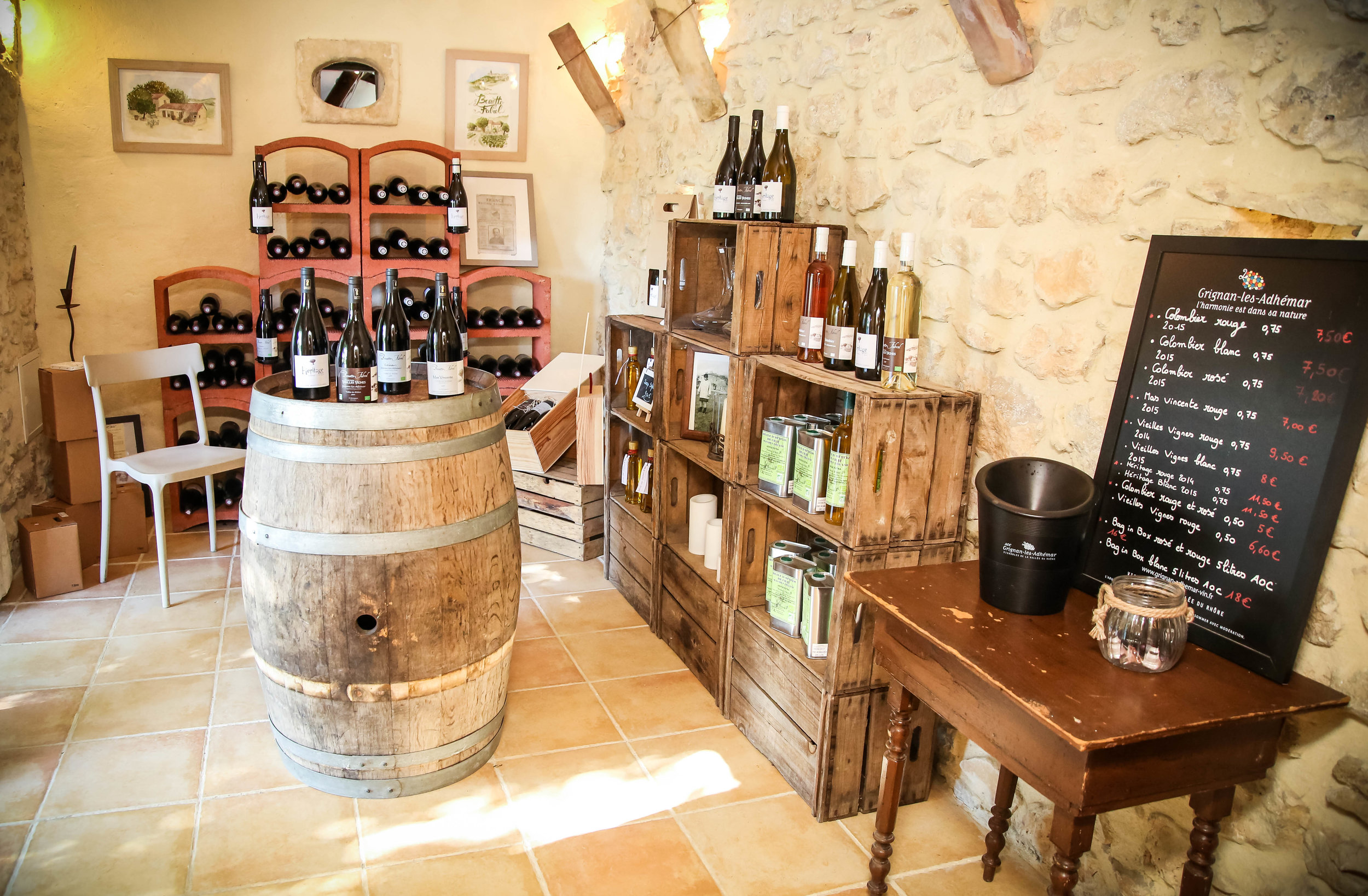 The tasting room at the Domaine
