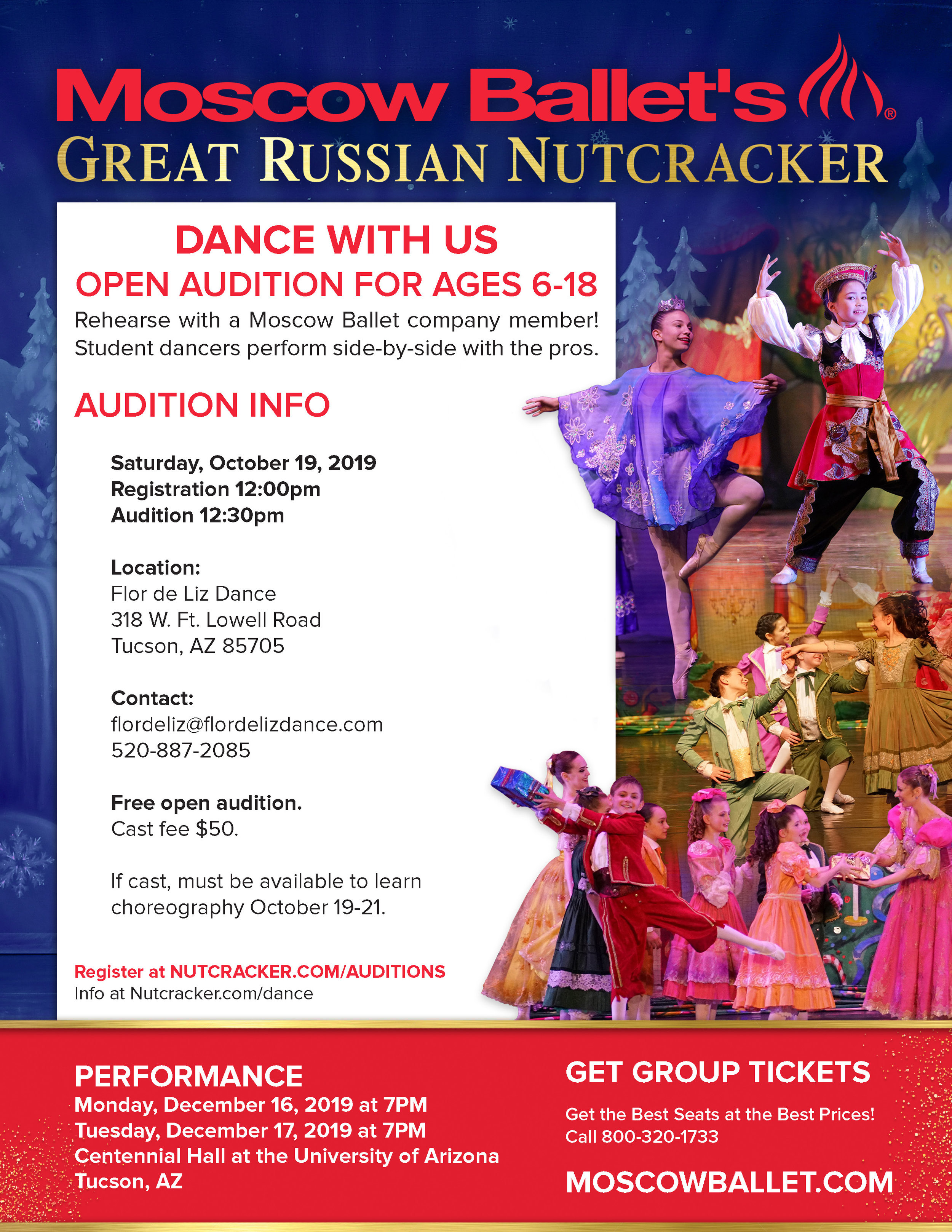 NUTCRACKER AUDITION @ Flor de Liz Dance (FDLD)  for AGES: 6 - 18, must have at least 1 year of ballet training and must be currently enrolled in a ballet class.   S AT . O C T . 19 @ 1 2 : 0 0   Registration:  • Assume 1/2 hour for registration process: 12:00pm - 12:30pm  • Each student will sign in their name and contact information and will be assigned a number to pin on their leotard.  • We will provide a Fact sheet with information for parents and dancers at the registration desk.  • All dancers must go to  www.nutcracker.com/auditions  and sign up before the audition date. Please turn in your signed waiver form at the registration desk.  Payment:  • $50 Cast fee payment is due by Sat. Oct. 26. EVERY DANCER WHO AUDITIONS WILL BE CAST!  Audition/Casting:  • Assume 2 hours for the audition: 12:30pm - 2:30pm  • Dancers must wear a black leotard, pink tights and pink ballet shoes.  • After the audition and casting is complete parents need to be present for the rehearsal announcement.  Rehearsals:  • Assume 3 hours rehearsal with audition director on Sat. Oct. 19: 2:30 - 5:30 and again on Sun.. Oct. 20: times TBA.. (11:00am - 2:00pm)  • Subsequent rehearsals will be with FDLD instructors @ FDLD on Saturdays between 3:00 and 5:00 PM.  • All dancers must be available and committed to the rehearsal schedule.
