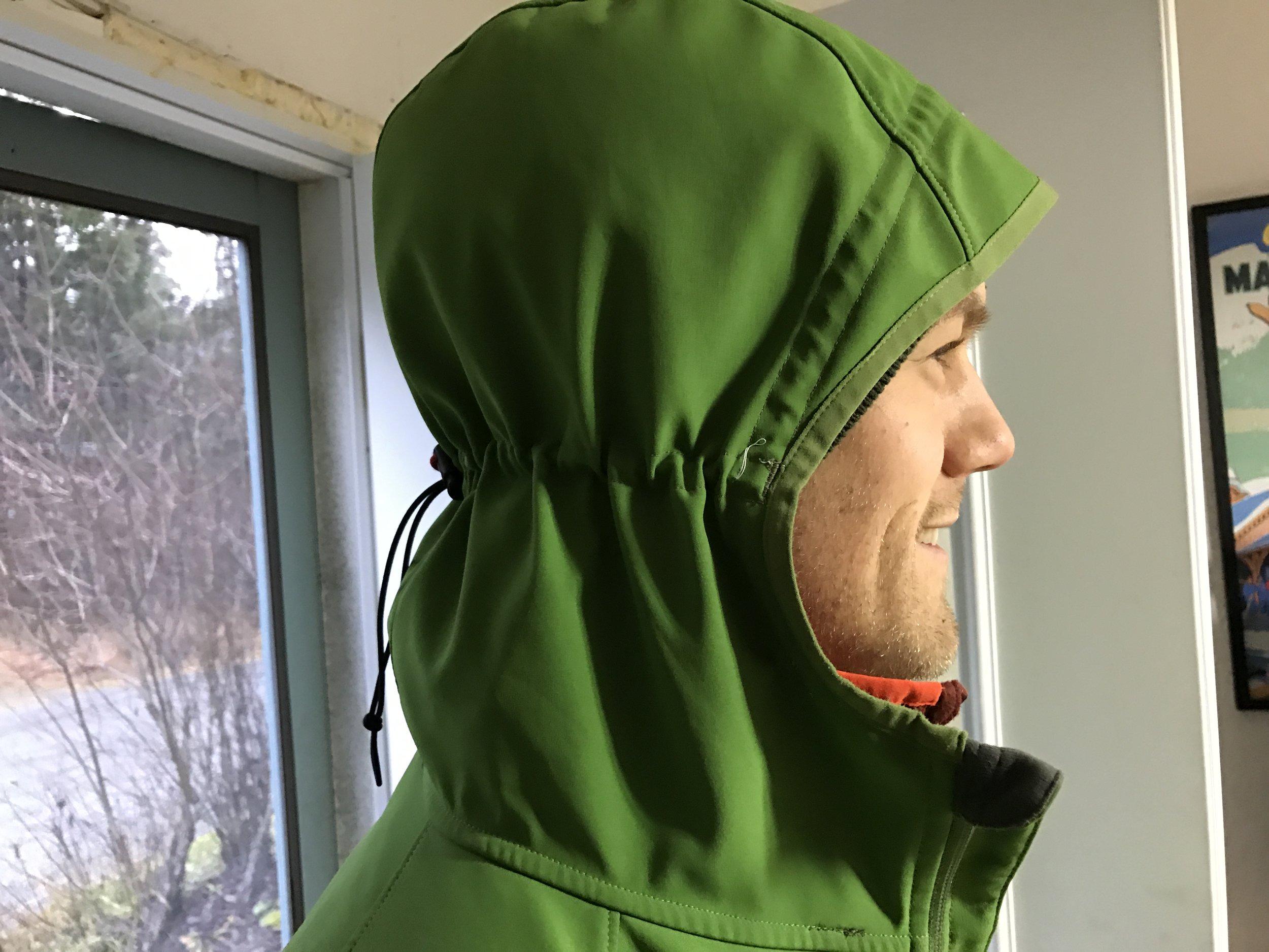 Custom hood draw cords, visor stiffening