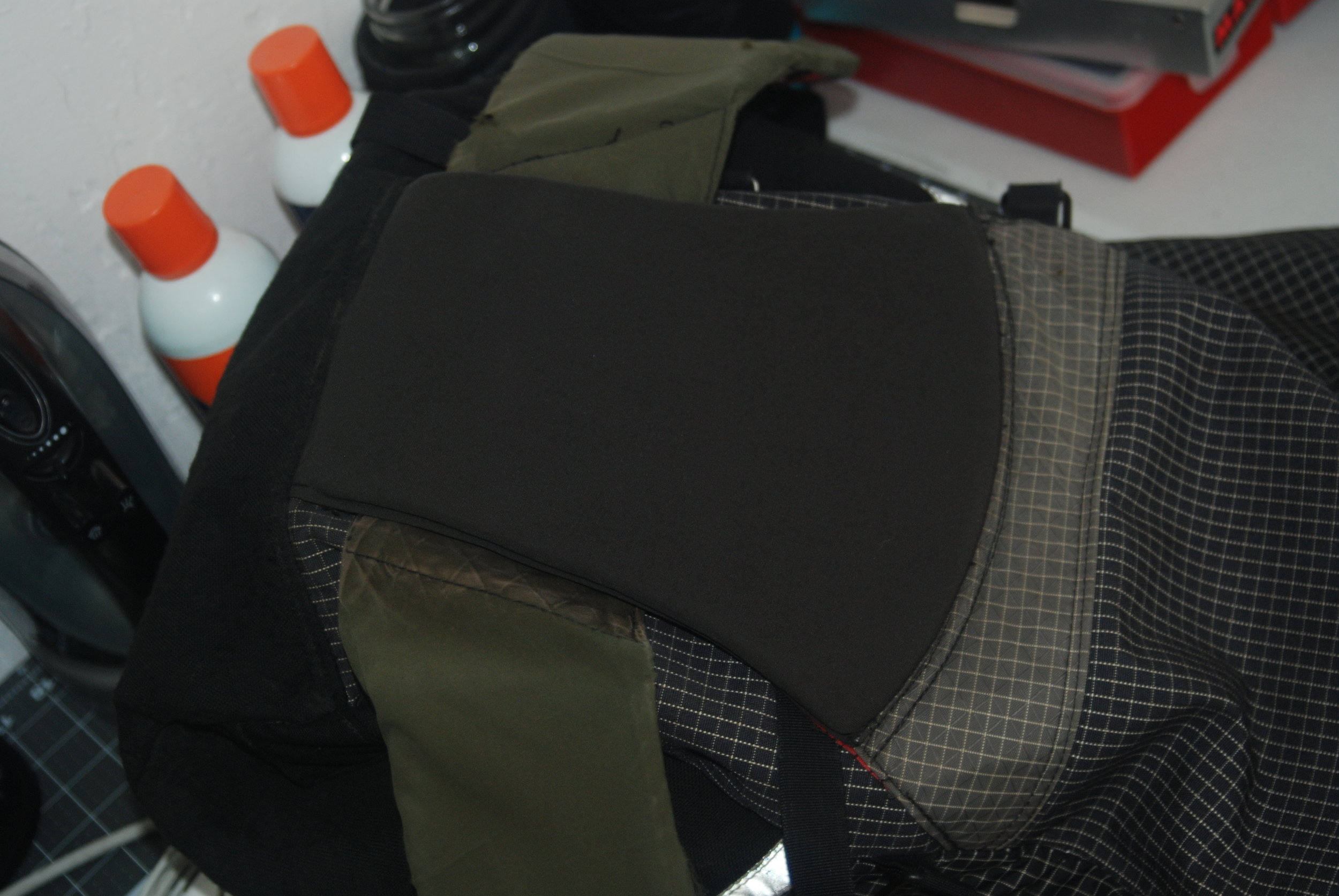 Rebuild of the lumbar pad on a lightweight alpine pack to get one more expedition out of it. The repair outlasted the rest of the pack in this case.