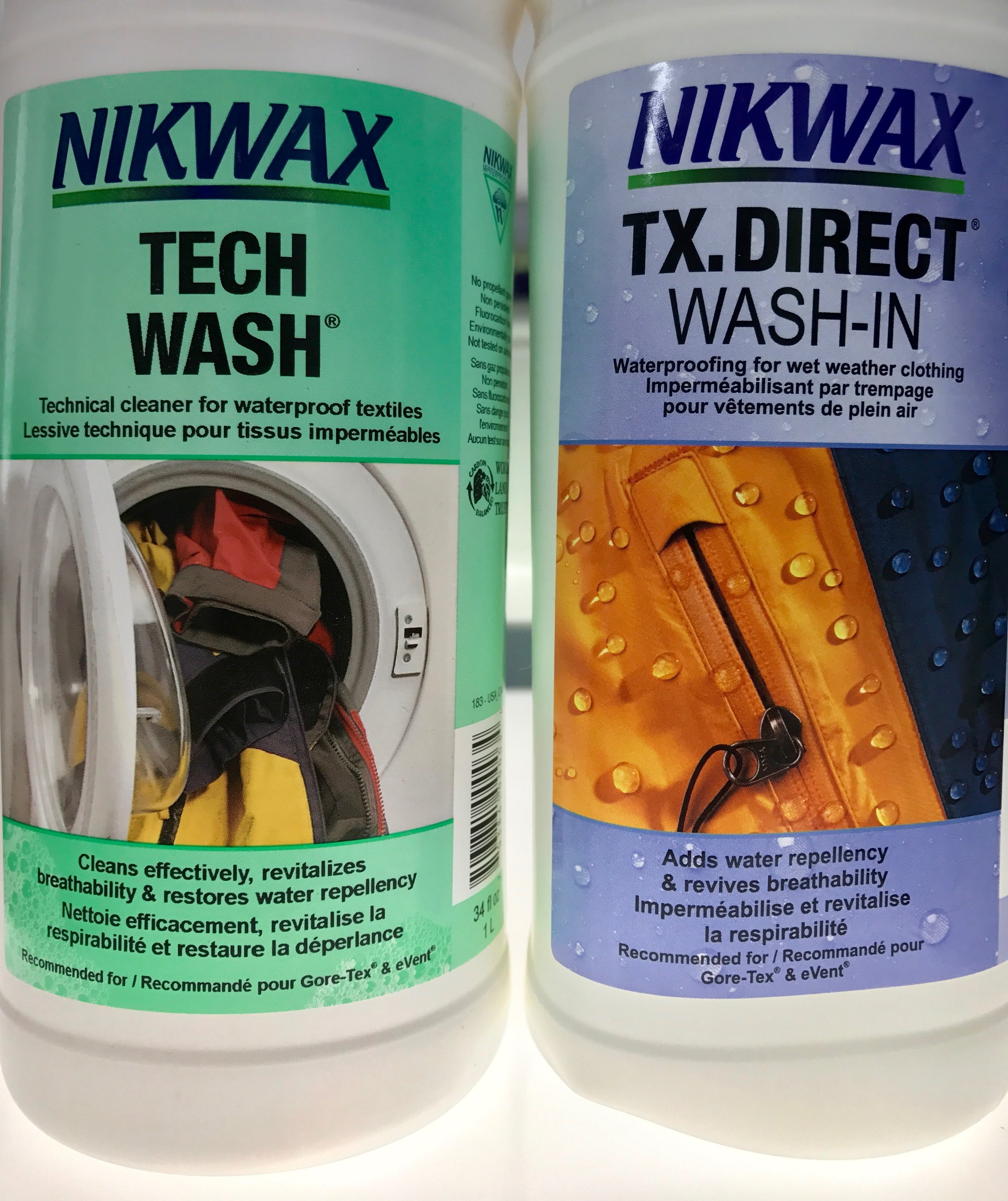 Nikwax Tech Wash and TX.Direct. Any non detergent laundry soap can be used to clean your gear. DWR can be washed in or sprayed on.