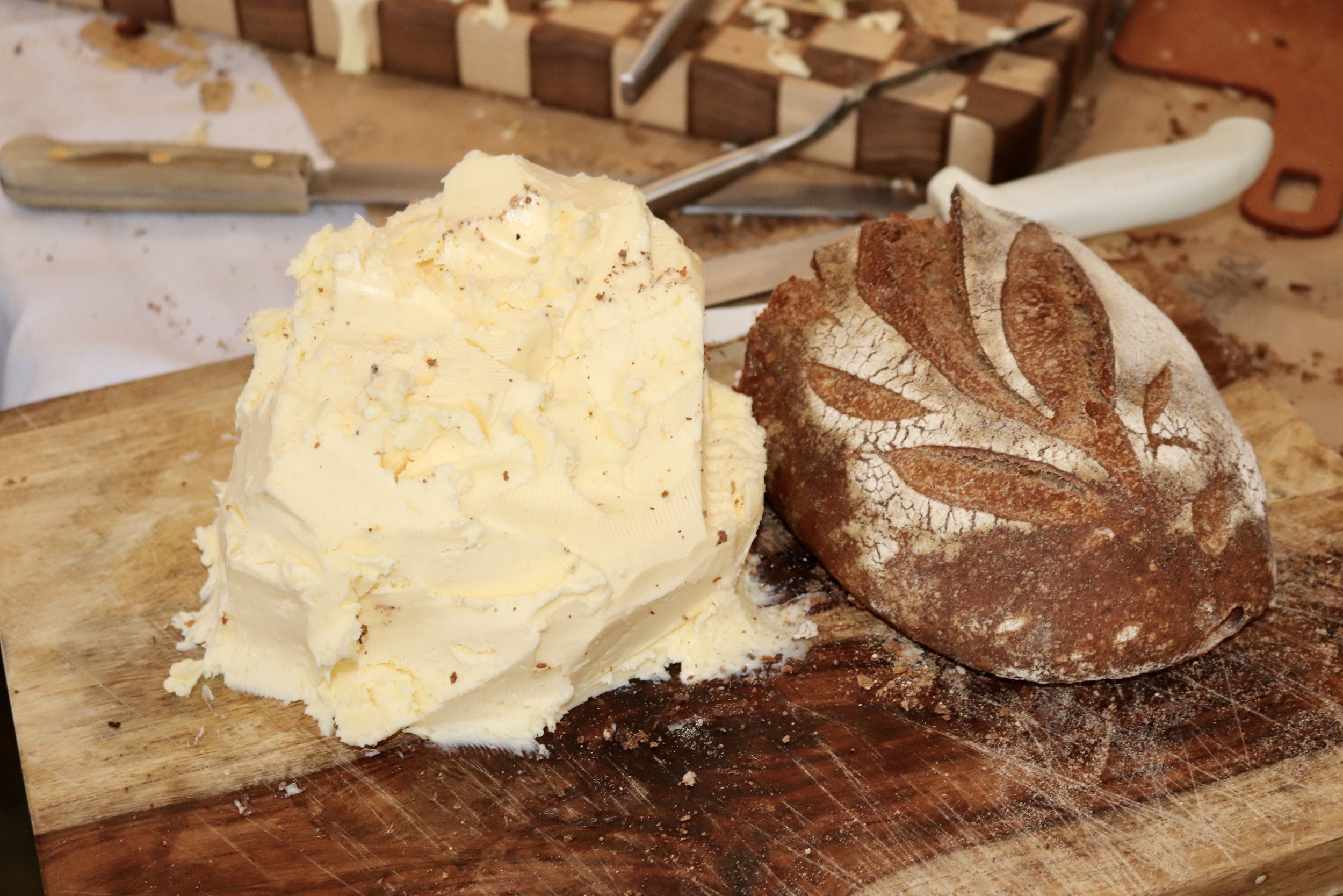 local cultured butter hunk and fresh bread
