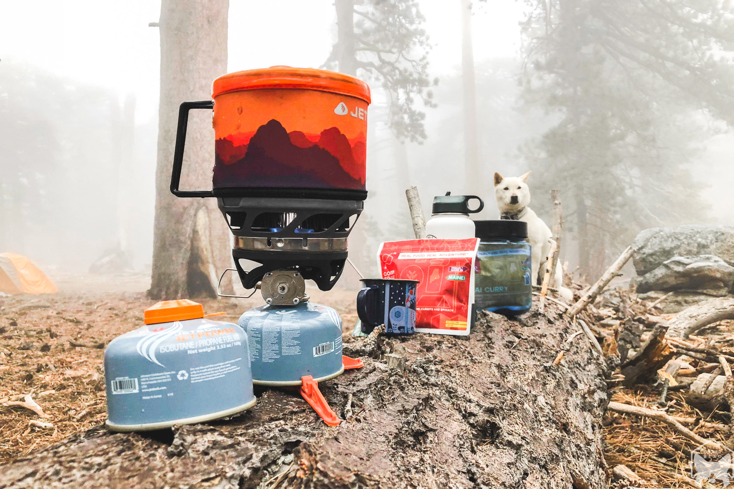 Heated up water with a JetBoil as we prepare dinner.