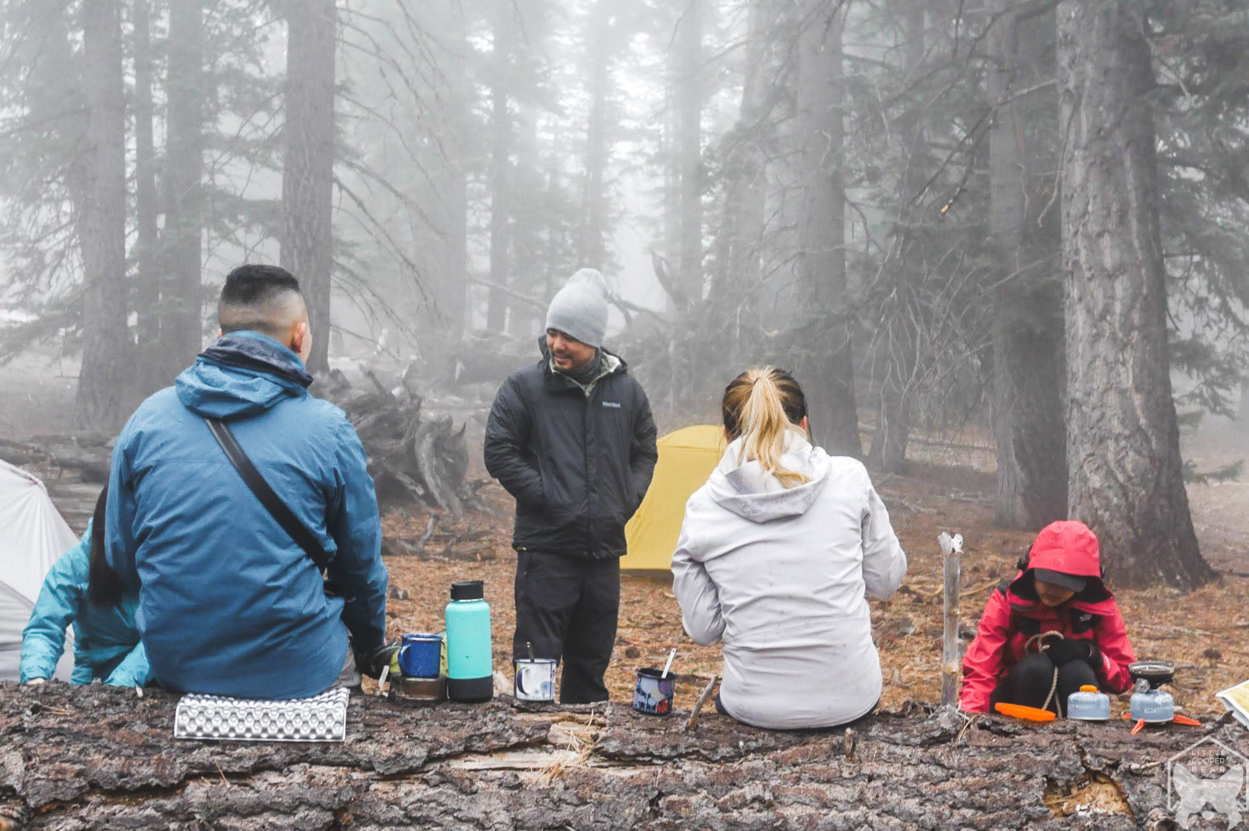 Ate our camp dinner in the foggy wilderness.