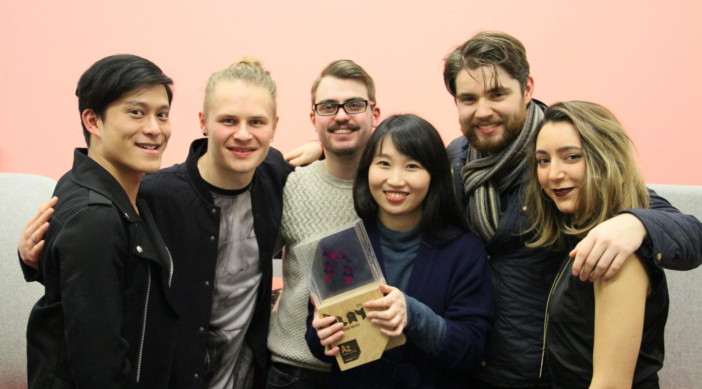THE TEAM (from left)  Semone Bunnag (Director), Oliver Wegmuller (Sound Designer), Tom Battey (Narrative Designer), Qiao Yu (Artist), Ed Perryer (Animator), Belmin Pilevneli (Artist)