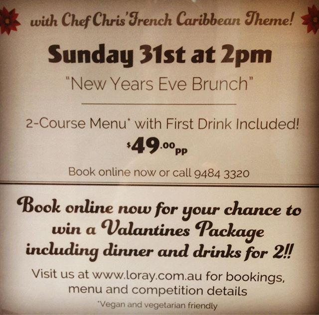 Get the celebration started with New Years Eve Brunch! Sunday 31st @2pm. Book online now and you could win a Valentines Dinner Package#newyearseve #french#caribbean#brunch#festive #preston#thornburyheights #reservoir#main#desserts #wine#beer#food#breakfast #lunch