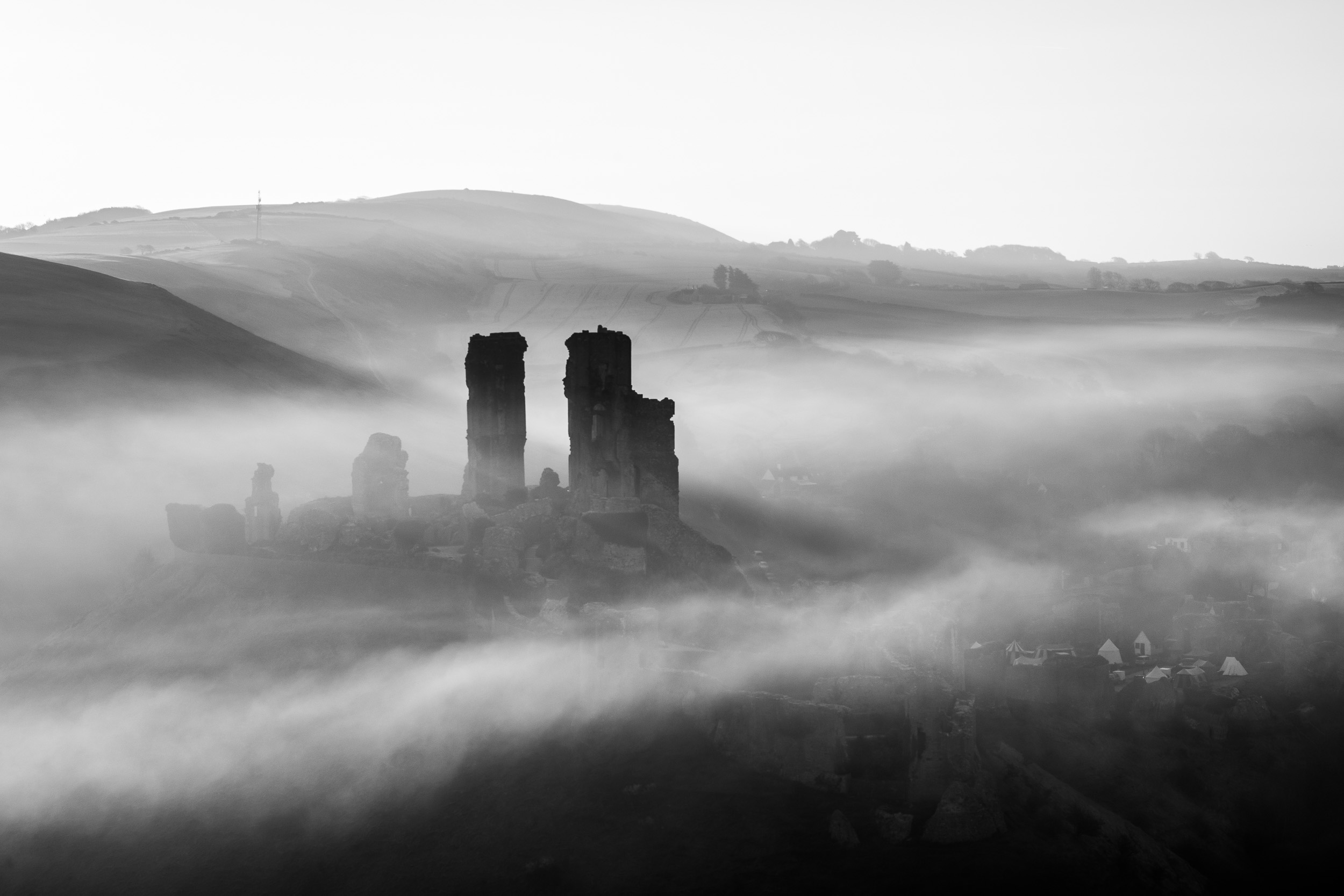 Corfe Castle in Black and White