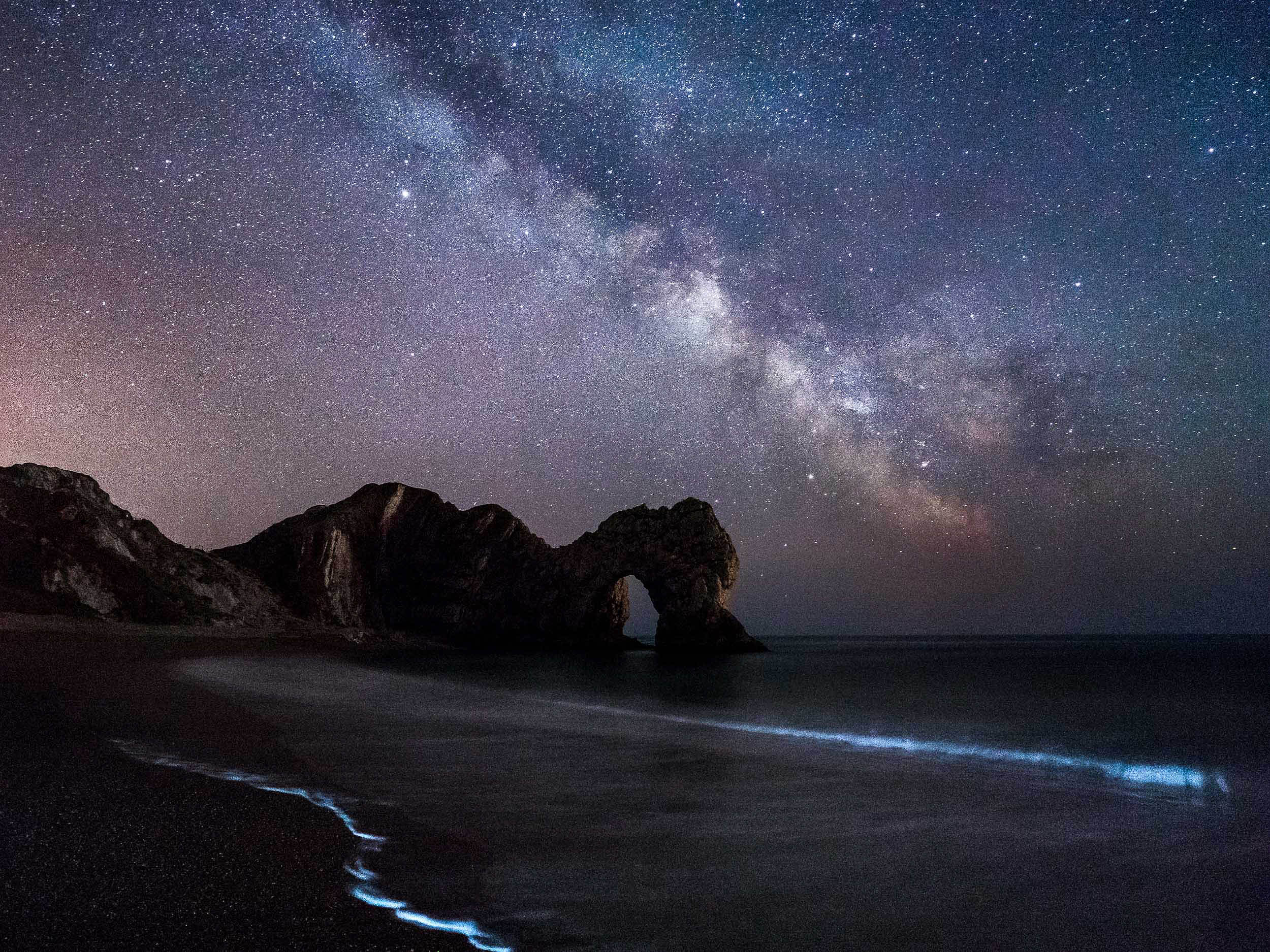 Bioluminescent Algae and the Milky Way at Durdle Door, Dorset
