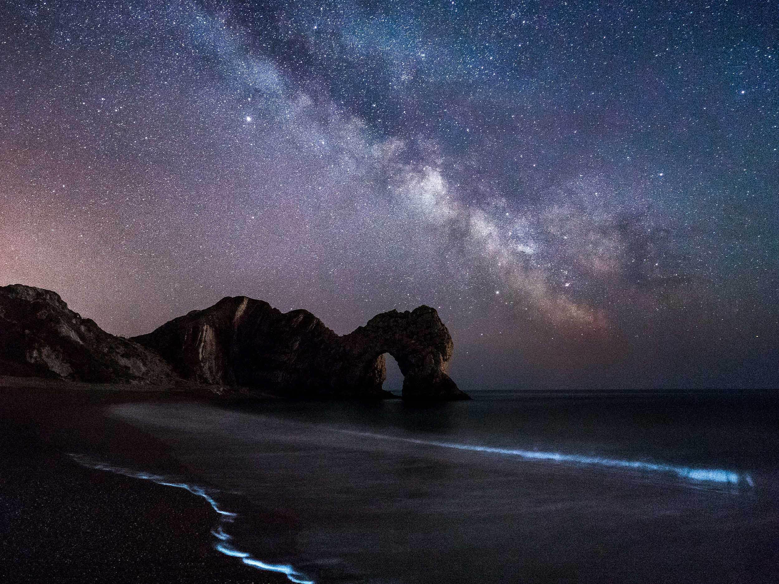 Milky Way and Blue Light at Durdle Door Dorset