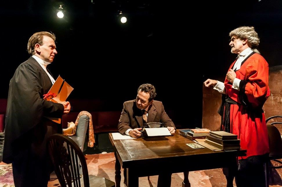 Drew Paterson playing The Judge in Finborough Theatre's Mr Gillie.