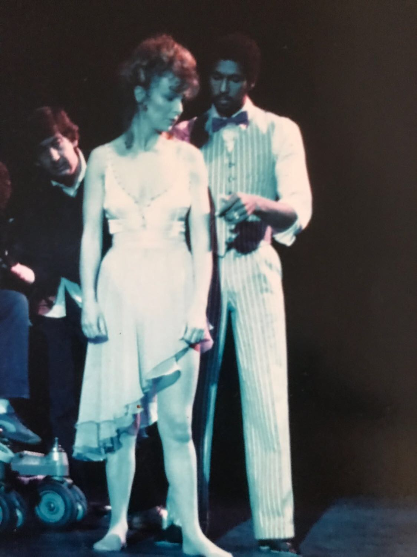 Michael Moor on set with Julie Walters in 1984