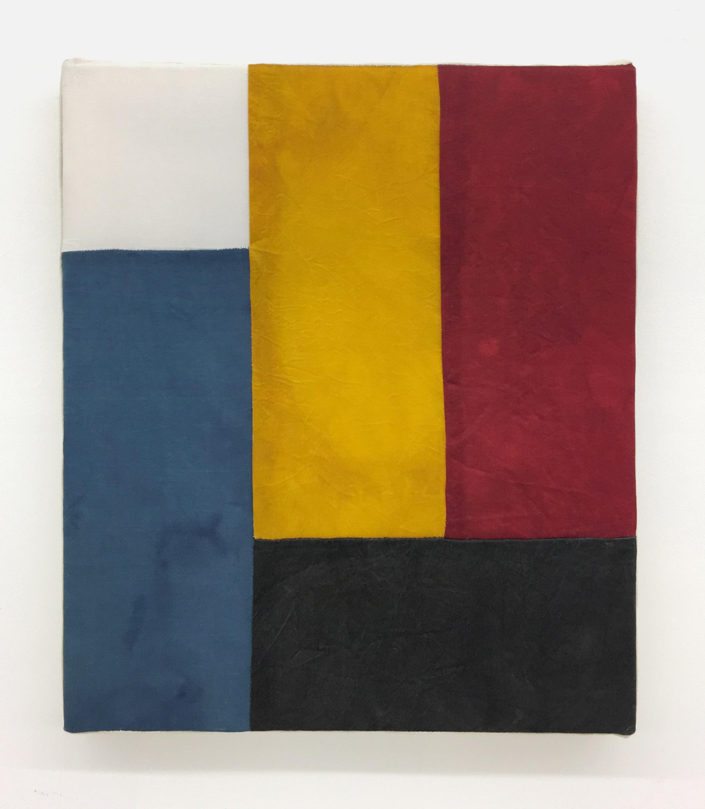 Byron Kim, Bulbokjang #1, 2016. White silk and silk dyed with charcoal, gardenia, indigo and sandalwood,14 x 12 in. (35.6 x 30.5 cm). Courtesy James Cohan