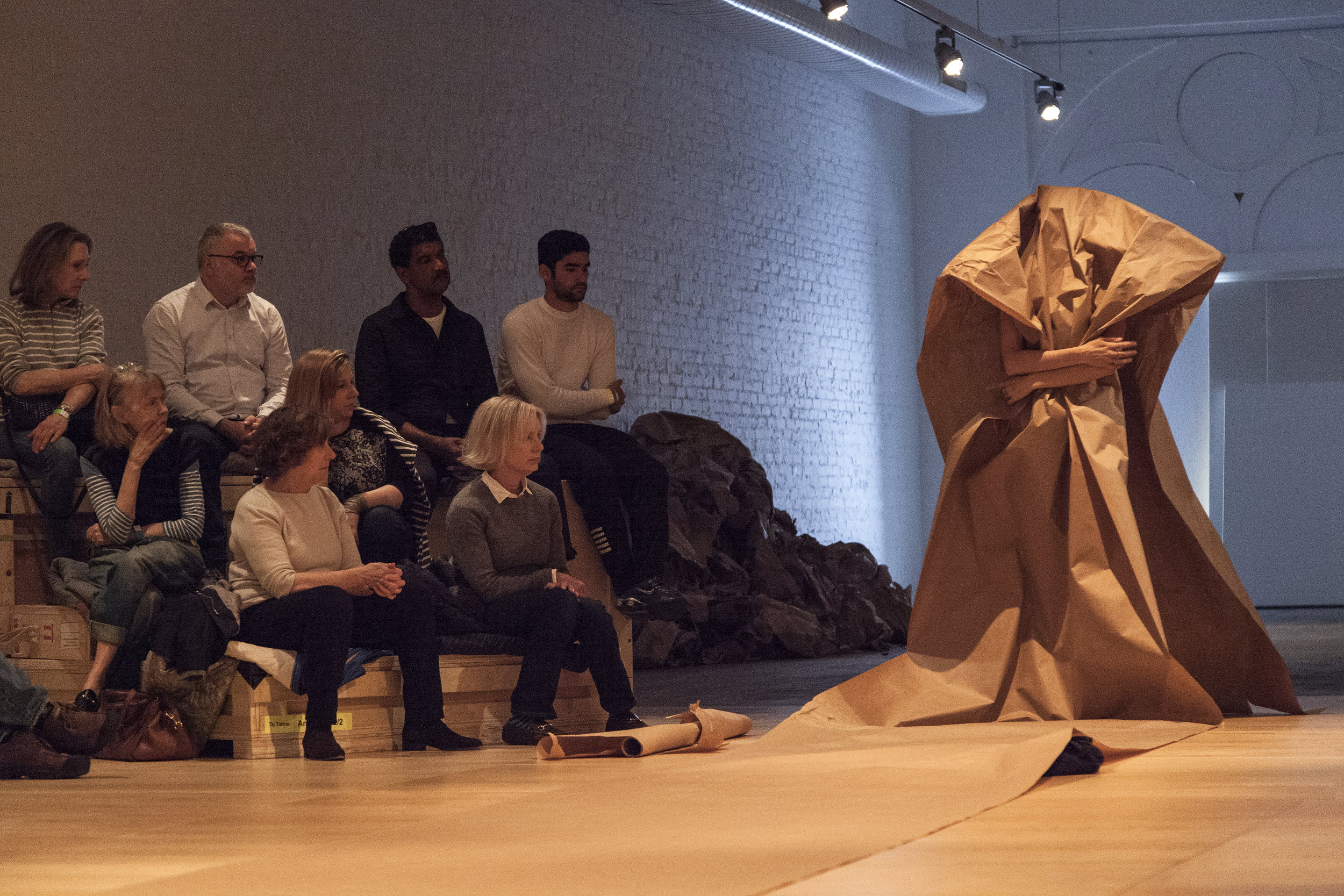 Janine Antoni in collaboration with Anna Halprin Paper Dance, 2013 Premiered at The Fabric Workshop and Museum, Philadelphia in 2016 Photographed by Carlos Avendaño. Courtesy of the artists and Luhring Augustine, New York