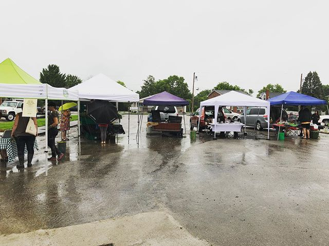 We are all here: Pork, chicken, tomatoes,greens and baked goods @berea_farmers_market and @madisoncountyfarmersmarket #bravingtherain #localfoodky