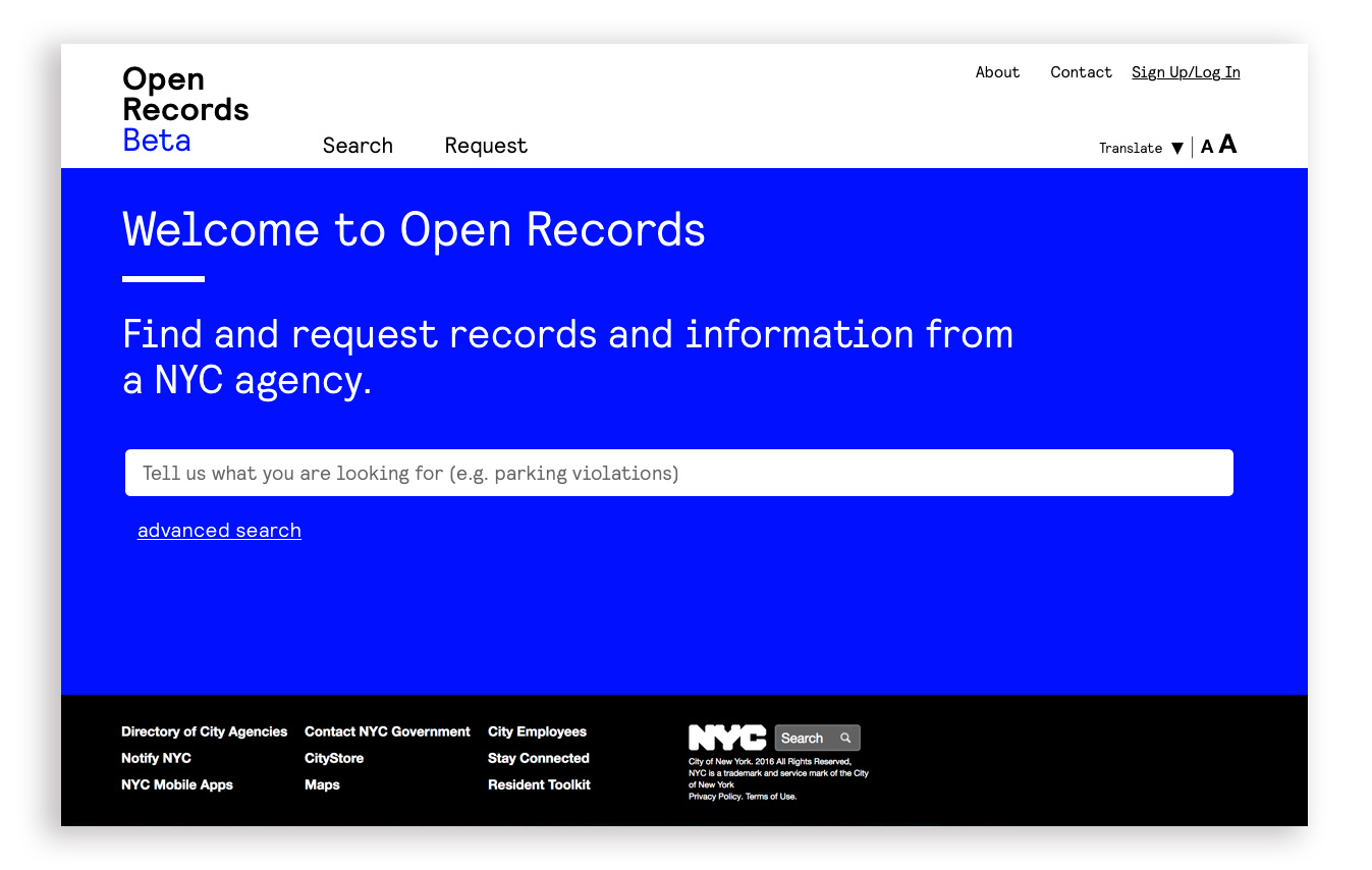 The new home page features clarified language and a prominent call to action to search existing records before creating a new request. The search can access multiple databases at once, eliminating the need to clarify the difference between them.