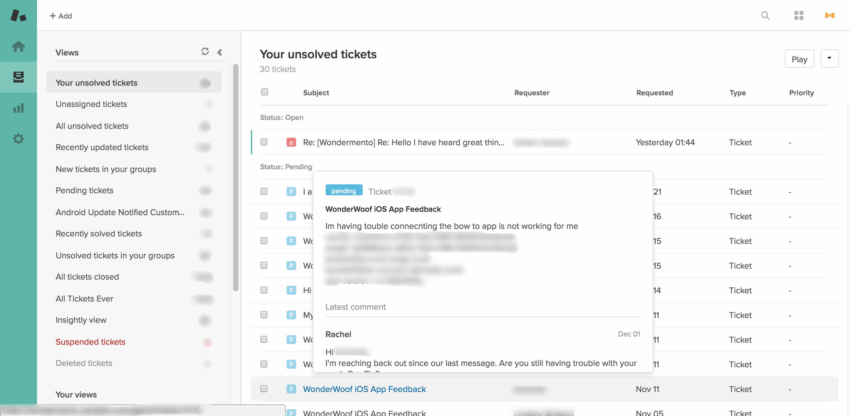 Zendesk Portal - Customer Service Agent GUI