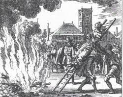 Heksebrænding. Hollandsk tegning fra 1500-tallet.