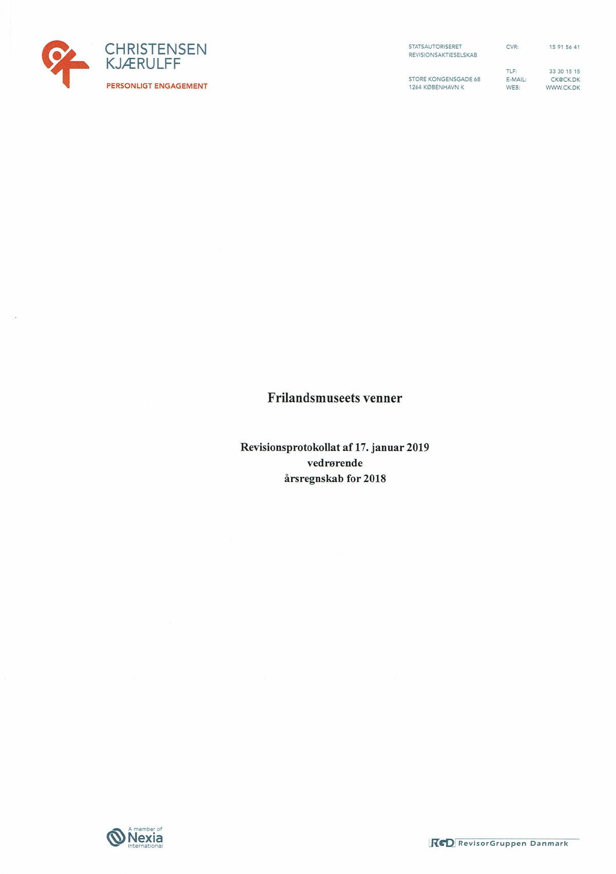 Revisionsprotokollat vedrørende årsregnskab 2018 -