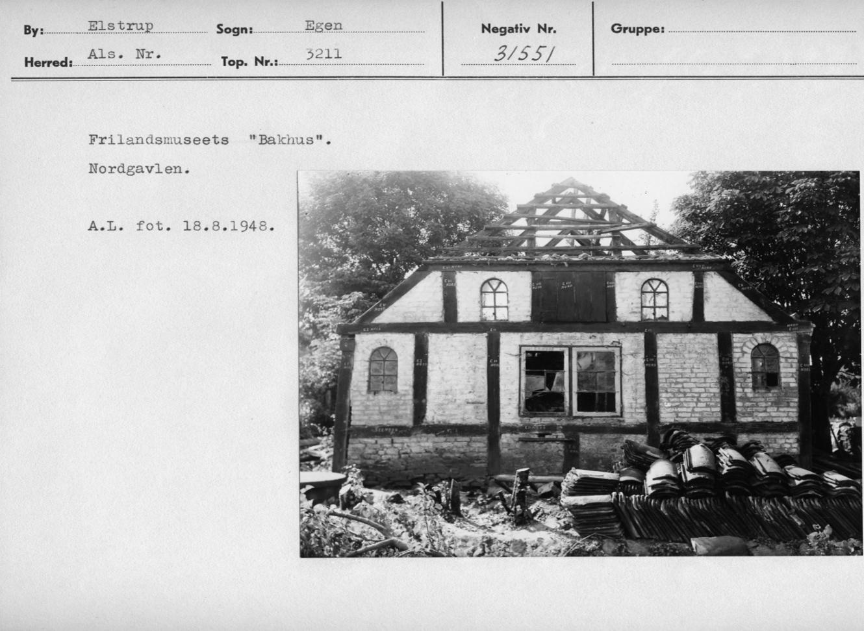 Bagehuset fra Elstrup på Als. Foto Flm Arne Ludvigsen 1948