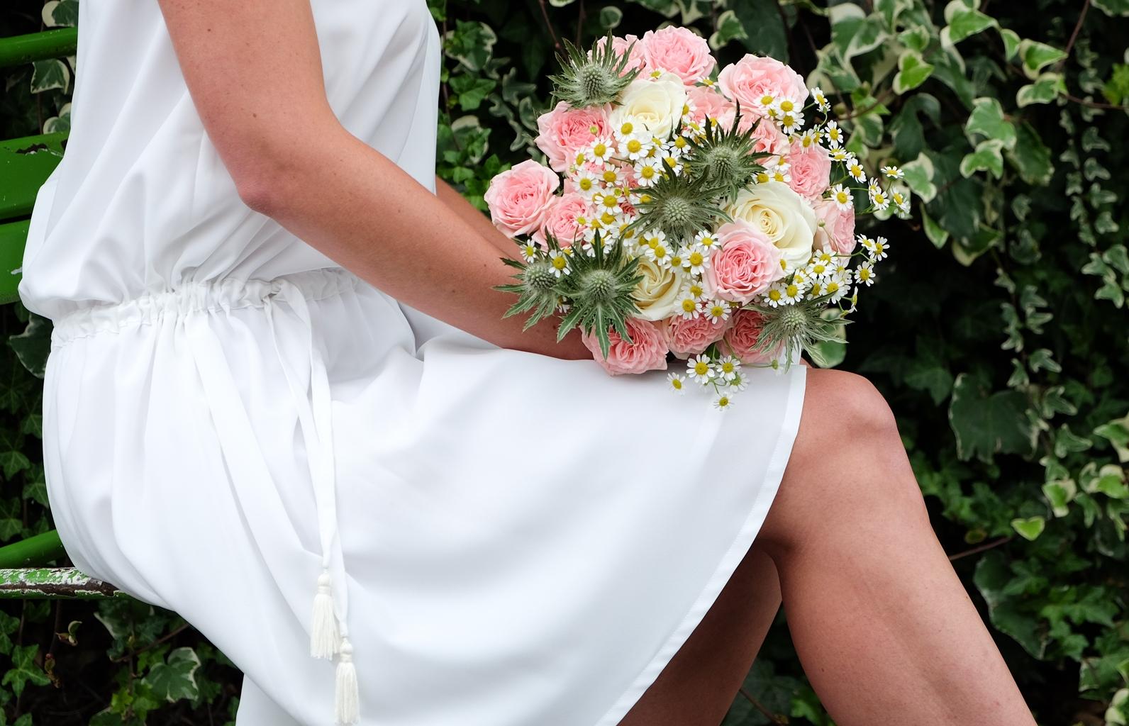 Lucie Fouquet robe Marie mariage civile ceinture coulissée
