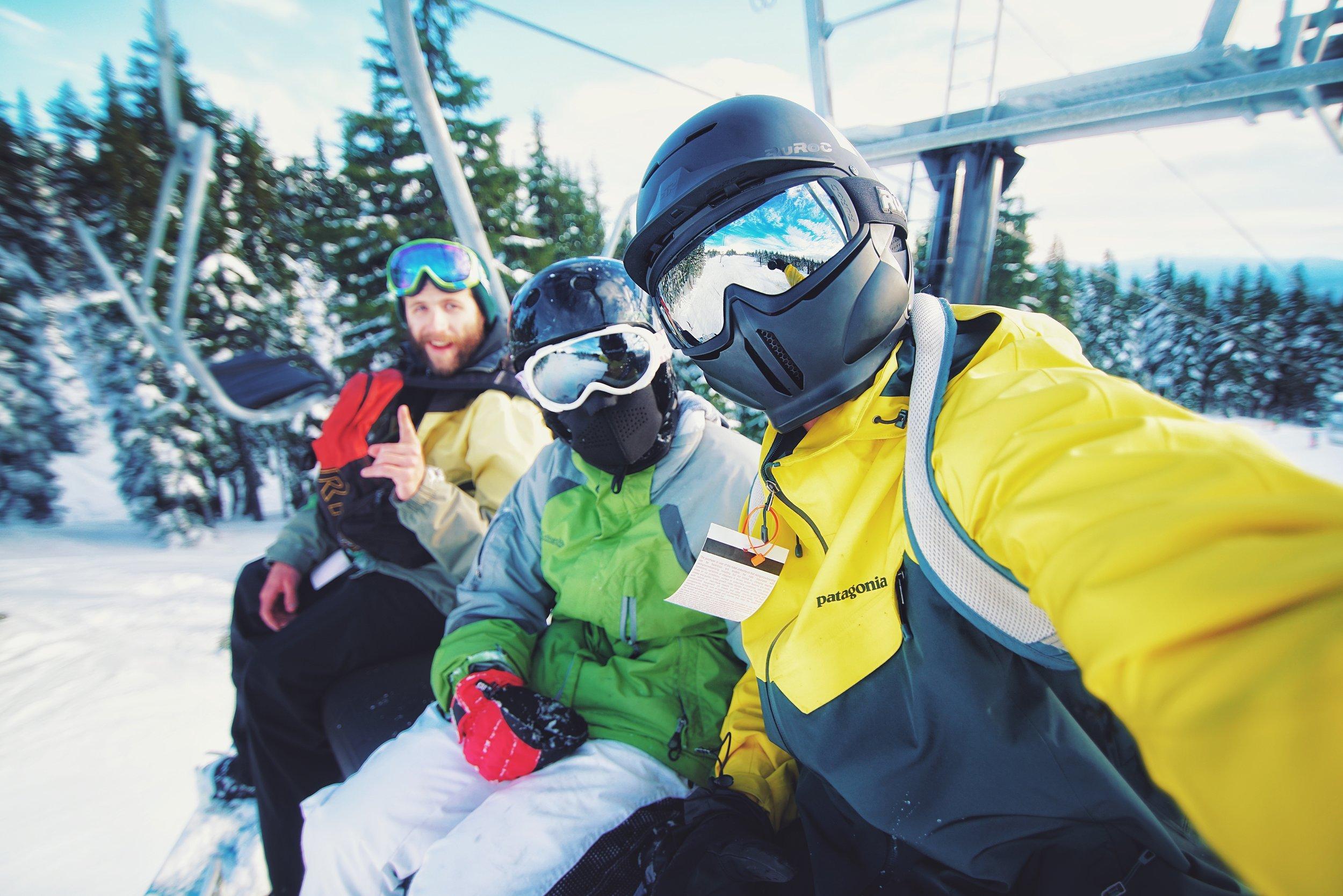 Cruising up on the ski lift between runs with Sarah and Daniel.
