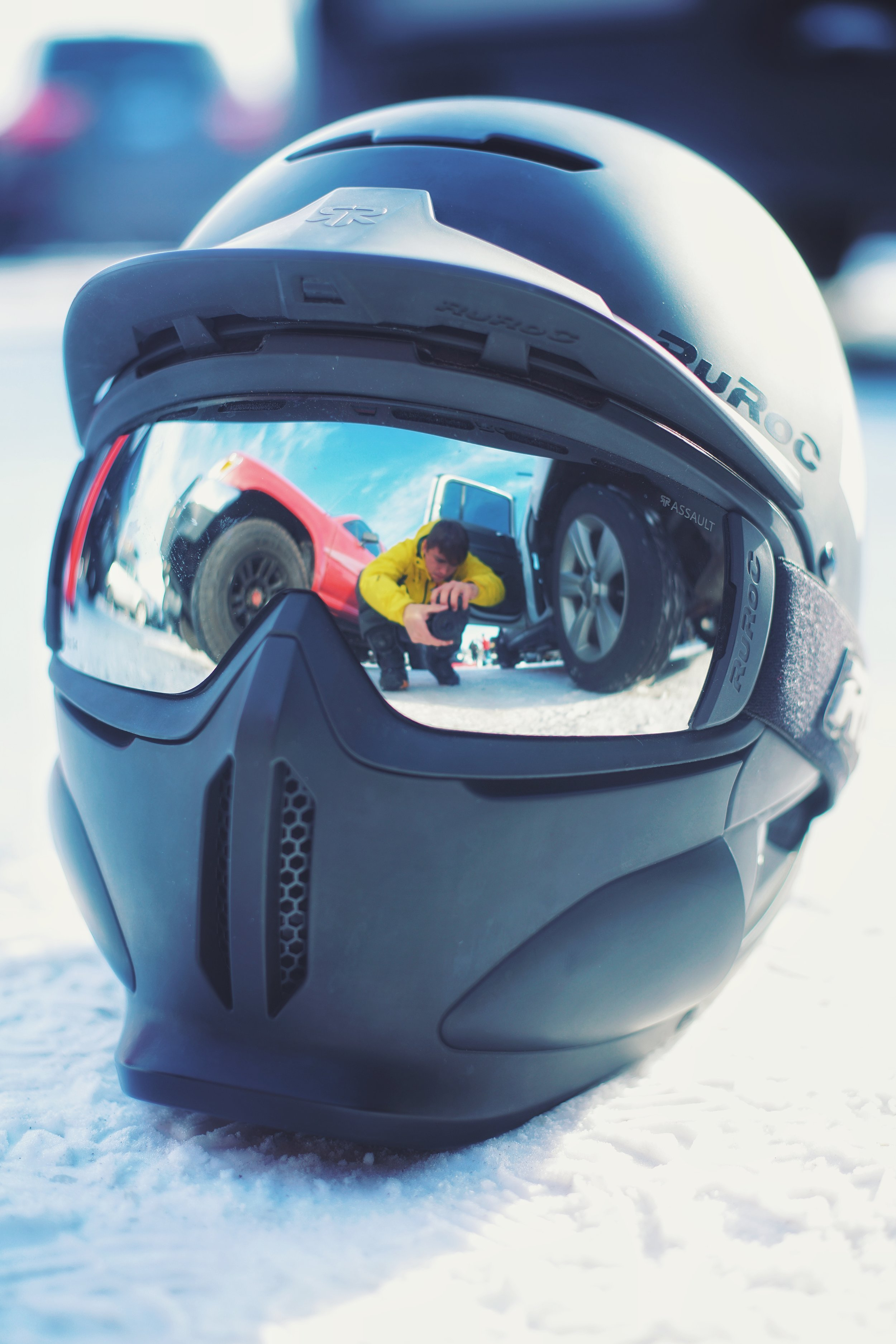 My Ruroc helmet. Looks kinda storm trooper-ish haha. Got it last year to test out and it's been great. Comes with decent goggles too.