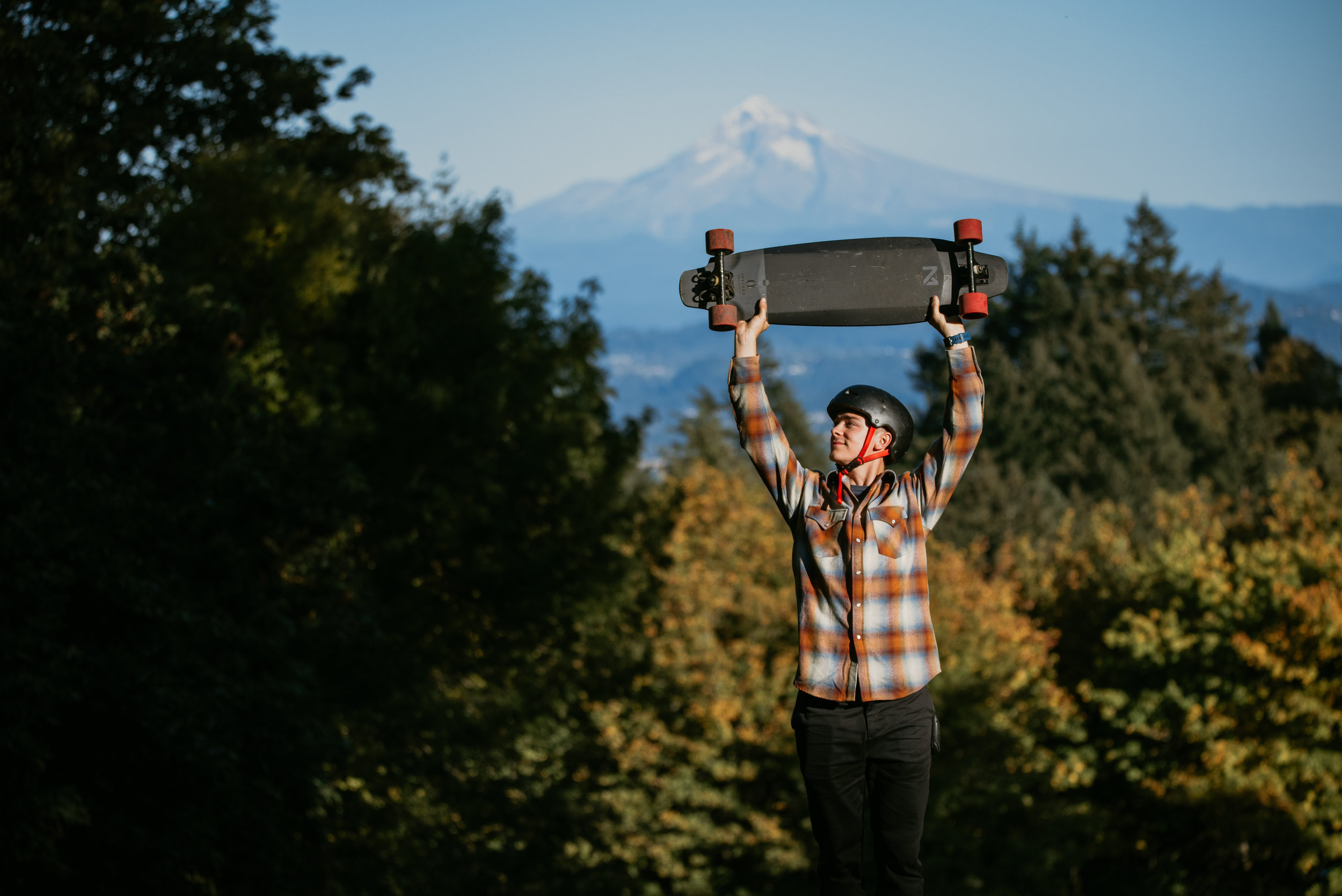 Stunning view of Mt Hood from the top of Portland. Cheers to the Inboard M1 electric longboard for effortlessly powering me up to the top of all these hills!